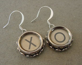 Typewriter Key Earrings X O HUGS and KISSES Cream Glass Covered Typewriter keys Jewelry