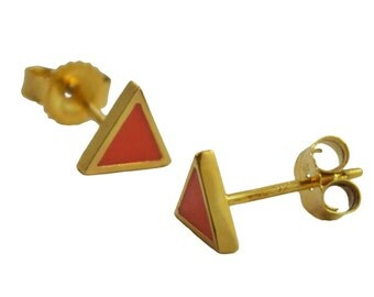 Mini Coral and Gold Triangle Studs // Geometric + Pyramid Inspired Tiny Little Gold Earrings // Choose Any Color