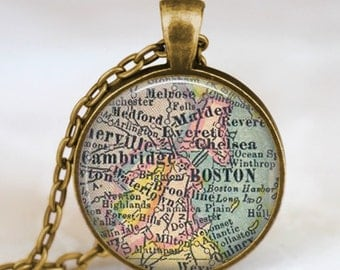 Boston map necklace, Boston map pendant, Boston map jewelry charm , vintage map necklace