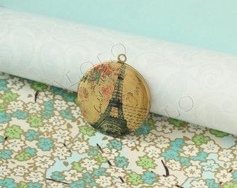 handmade Eiffel Tower antique bronze locket 32mm (LD064)