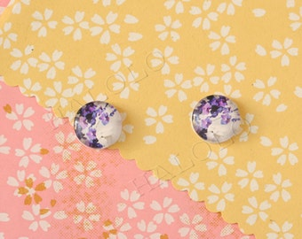 Sale - 10pcs handmade purple white flowers clear glass dome cabochons 12mm (12-9951)