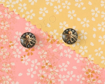 Sale - 10pcs handmade Octopus round glass dome cabochons 12mm (12-9893)