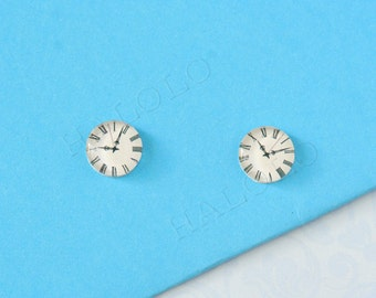 Sale - 10pcs handmade clock round clear glass dome cabochons 12mm (12-1063)
