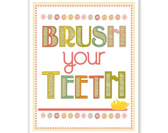 Children's Wall Art / Nursery Brush Your Teeth  5x7 inch print by Finny and Zook