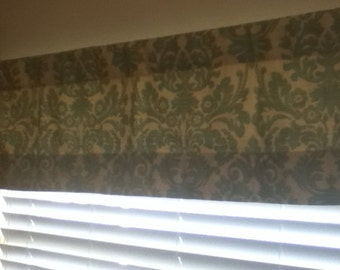 "Aqua damask 50"" x 14"" valance - ready to ship"