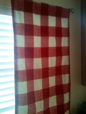 2 Red Gingham Kitchen Curtains Lined
