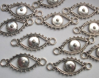 10 Evil Eye Connector Antiqued Silver Tone Connector Charms