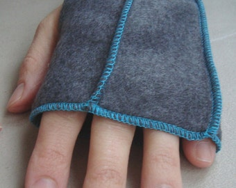 Gray Fingerless Mittens,  Recycled Fleece, TEAL thread details, Xmittens, size LARGE