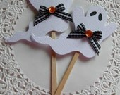 Halloween Ghost Paper Lollipop Embellishments/Cupcake Toppers -Set of 2