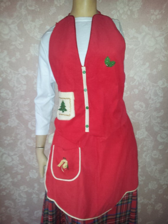 Vintage Apron Vest Set Christmas His and Hers Red Corduroy Vest for Him Apron for Her