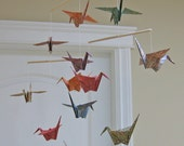 Origami Crane Mobile - Chiyogami Print Kraft Papers - Home Decor