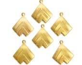1 Loop Raw Brass Layered V Charm Pendant with Loop (6) mtl391A
