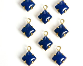 Navy Blue Square Glass Stones in 1 Loop Brass Setting 6mm squ001BB