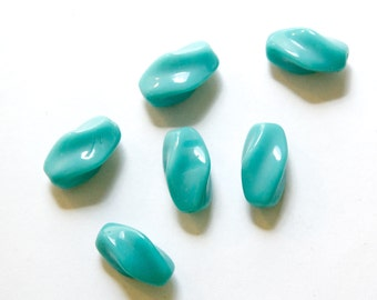 Vintage Turquoise Blue German Glass Oblong Twist Beads (6) grm040D