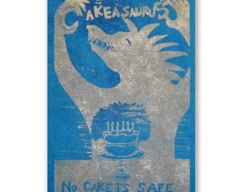 No Cake is Safe (original woodblock silver aqua)