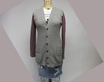 Deconstructed Reconstructed Washed Wool Boyfriend Grandpa Cardigan Sweater