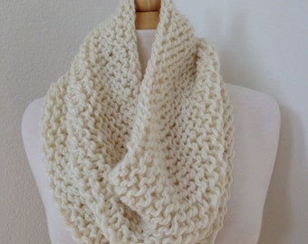 Chunky Knit Cowl Scarf in Cream...