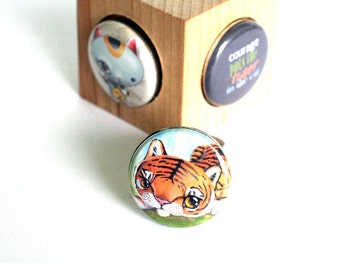 TIGER and Cat Courage Adjustable Ring - Silver Hammered - Magnetic 3 in 1 Ring - Upcycled by Polarity - Cuddly Rigor Mortis Collection