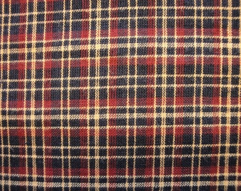 Plaid Material | Homespun Material | Cotton Material |  Navy, Red And Tan Plaid 1 Yard  DESTASH