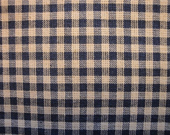 SALE SALE SALE Homespun Fabric  Navy Medium Check 1 Yard  Destash