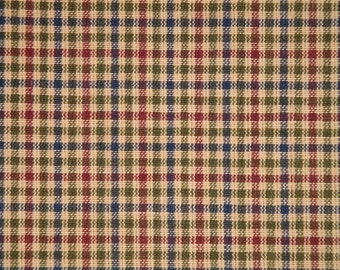 Homespun Fabric | Quilt Shop Fabric | Cotton Fabric |  Navy Olive Wine And Tea Dye Small Check | Sold By The Yard