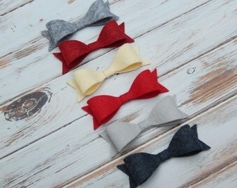Wool Felt Bows - Winter Woolens Collection - Set of 12