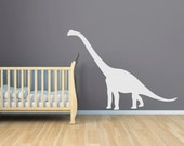 Dinosaur Wall Decal - Large Oversized Vinyl Dinosaur Decal - Peeking Crib Wall Decal - Brontosaurus, Brachiosaurus -  Boy Nursery - CB151