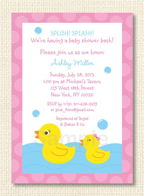 rubber duck baby shower invitation by littleprintsparties on etsy