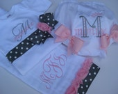 Personalized bodysui-burp cloth-bloomers-Gray & white polka dots with pink rose trim-Great shower gift
