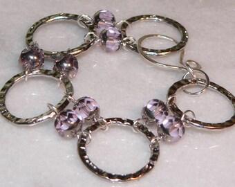 Pink Glass Bracelet, Silver Ring Bracelet, Boho Jewelry, Chain & Link Bracelet, Teen Gift