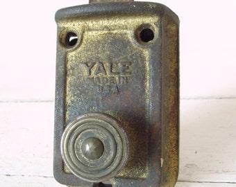 Vintage Yale Door Lock - Working Brass Industrial Metal Lock c. 1940s