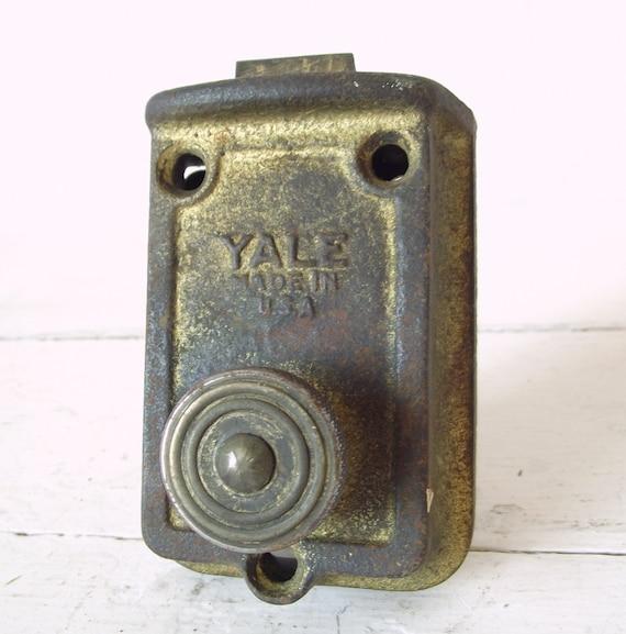 Vintage Yale Door Lock Working Brass Industrial Metal Lock