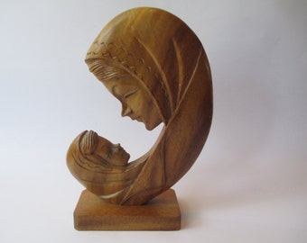 Madonna and Child Wood Statue