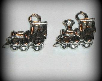 4 Silver Pewter Choo Choo Train Charms (cc03)