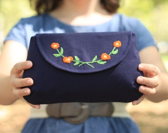 Floral Clutch Handbag Embroidered Navy Linen Women's Pocketbook Bag