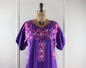 1970s Purple and Pink Mexican Oaxacan Dress with Heavily Embroidered Flowers - vintage Bohemian Maxi Sundress