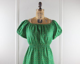 1970s Bright Green Calico Peasant Mini Dress, off the shoulder - size small -  NEVER WORN, nos, new old stock, deadstock