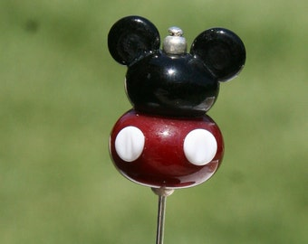 Plump Mickey Mouse Style Stick Pin Disney Inspired DeSIGNeR SRA Lampwork Disneyland Magic Perfect Scarf Blazer Accessory