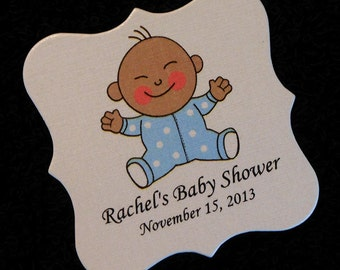 Personalized Baby Shower Favor Tags, baby boy with dotted sleeper, dark skin, set of 20