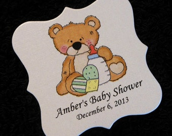 Personalized Baby Shower Favor Tags, teddy bear with bottle and heart, set of 20