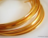 Gold Square Wire Plated Copper Non-Tarnish 18 Gauge Soft Tempered - 12 feet - STR9058WR-GSQ12