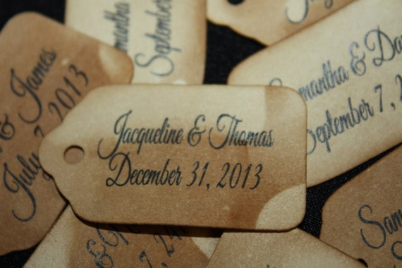 100 Personalized Name and Date Favor Tag Extra SMALL 7/8 x 1 5/8 Tag