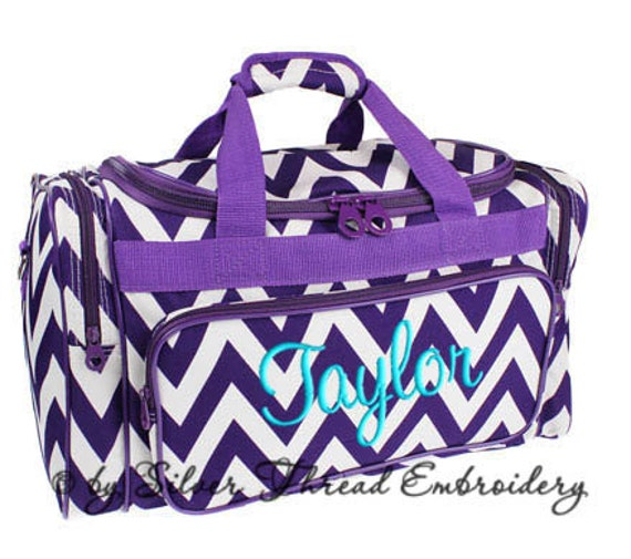 Personalized Duffle Bag Chevron Purple White Ballet Dance Travel