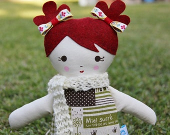 SALE Lil Sister Sprinkles Heather Red Hair Handmade Rag Doll (green parisian print) With Knitted Scarf