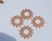 Qty 4  - 24.6mm Flower Copper