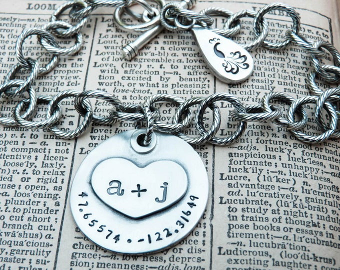 Featured listing image: PERSONALIZED You Plus Me Personalized Charm Bracelet with Latitude and Longitude