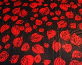 SALE vintage 80s novelty fabric featuring great black and red leaves print, 1 yard, 2 available priced PER YARD