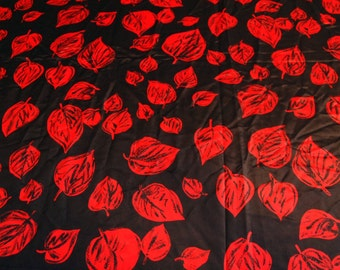 vintage 80s novelty fabric featuring great black and red leaves print, 1 yard, 2 available priced PER YARD