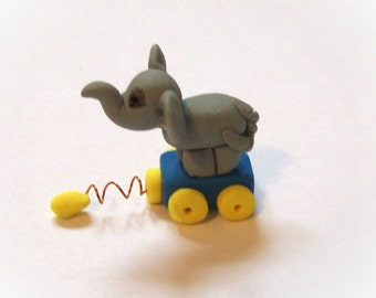 Elephant Pull Toy 1:12 Miniature Dollhouse Hand Sculpted Collectible Toy for Dollhouse Child's Room