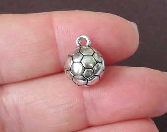 20 BULK, (3D) Soccer Ball Charms 14x11mm ITEM:L1